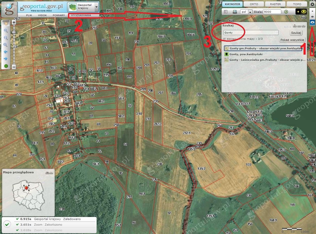 """Klikamy """"największe oko"""" po prawej aby ukazały się dodatkowe menu, w szukaj wpisujemy miejscowość - np. Gonty i jeśli znamy teren szukamy go manualnie - jak na mapie, jeśli nie - patrz zakończenie posta"""