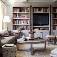 """Biblioteczka w ścianie """"telewizyjnej"""""""