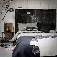 Schowek w wezgłowiu łóżka? Bardzo praktyczne rozwiązanie ;] Napisy na ścianie - jeszcze odważniejsze!