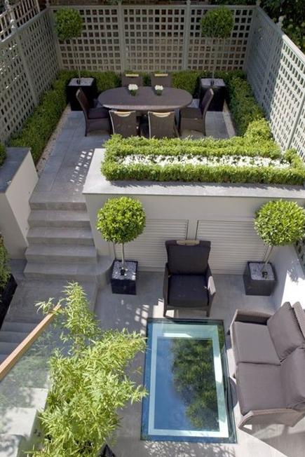 Modny nowoczesny taras projekty pomysl na projekt 29 for Landscape design for small spaces