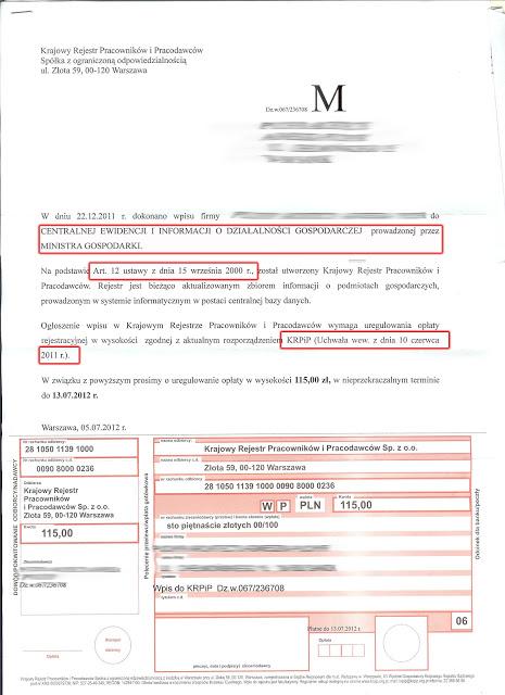 KRPiP krajowy rejestr pracownikow i pracodawcow to naciagacze i oczywiście przekret! Oto ich pismo - nie daj sie nabrac!!