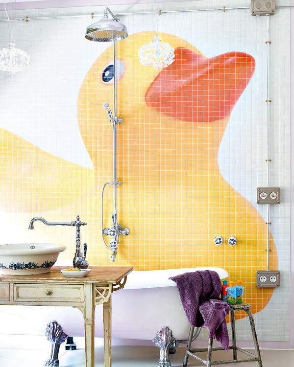 """Kiedy lubisz nietypowe rozwiązania zamów u designera mozaikę w dowolnym kształcie. Projektant w programie komputerowym obliczy Ci jakie płytki kupić aby powstało takie """"dzieło"""" na ścianie łazienki dla Twojego dziecka ;]"""