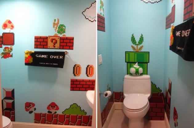 Mój absolutny totalny faworyt. Łazienka Mario Bross. Niesamowita! Nie wiem tylko, czy dzisiejsze dzieci wiedzą co to jest Mario ;] Osobiście oceniam ten pomysł na 6+