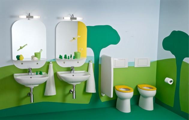 Czasem dobre malowanie ścian wystarczy aby stworzyć dziecku w łazience zaczarowany świat zabawy
