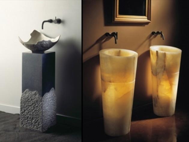 Ręcznie rzeźbione umywalki z granitu są zarówno proste, jak i nowoczesne.