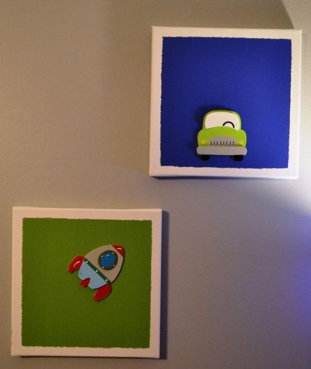 dekoracja-pokoju-dziecka-Obrazki w formie kartek z przyklejonymi figurkami wyciętymi np. z filcu czy po prostu kartonu - prosto i tanio.