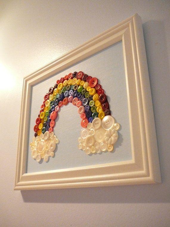 dekoracja-pokoju-dziecka-Obraz z kolorowych guzków - bardzo oryginalny.