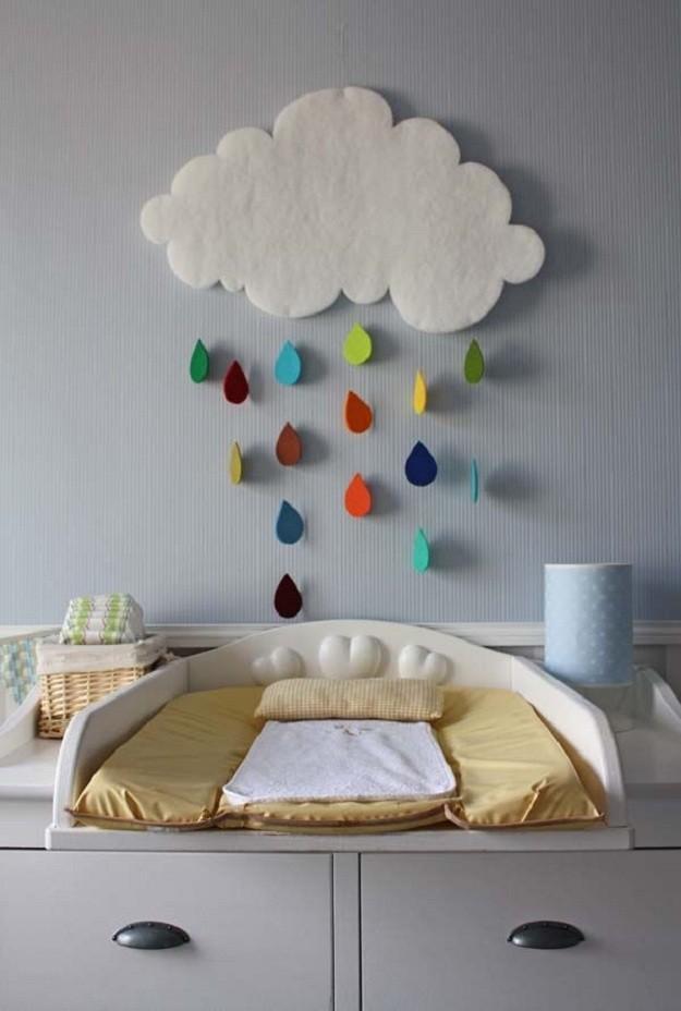 dekoracje-pokoju-dziecka-Chmurka z kolorowym deszczem z filcu - kształt łatwy do wycięcia i powieszenia nad łóżkiem.