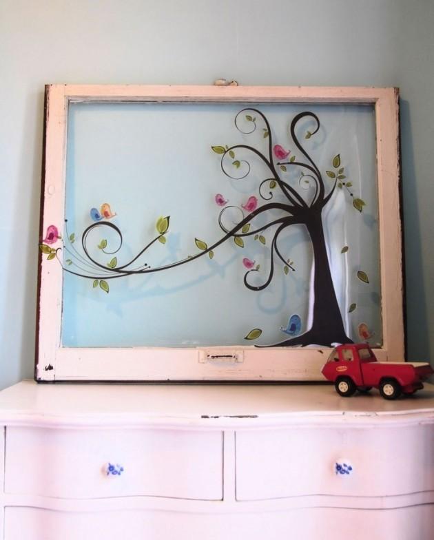 dekoracje-pokoju-dziecka-Super dekoracja ze starego okna, które służy jako rama dla obrazu - na szybie można namalować cokolwiek :)