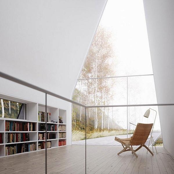 Wnętrze jasnego salonu.