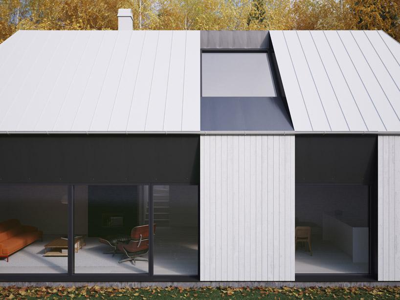 Okna na parterze zaczynające się od podłogi oraz okna w dachu wpuszczają do wnętrza dużo światła.