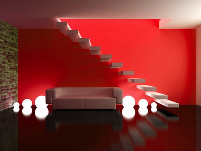 red interior design, red design, yellow design, green design