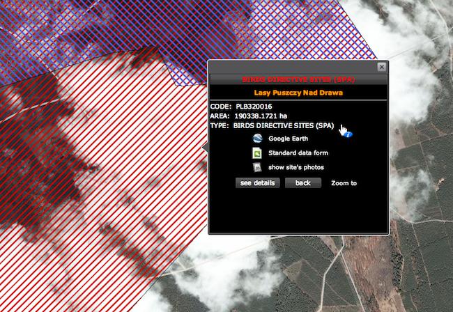 Klikamy na buttona i otwiera się menu z naszą NATURĄ - numerki PLH to Habitaty, PLB to Birdsy (ptaki ;] )