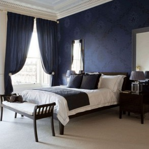 Jak stosowa kolory we wn trzu granatowy we wn trzu - Entrancing images of blue and black bedroom decoration ideas ...