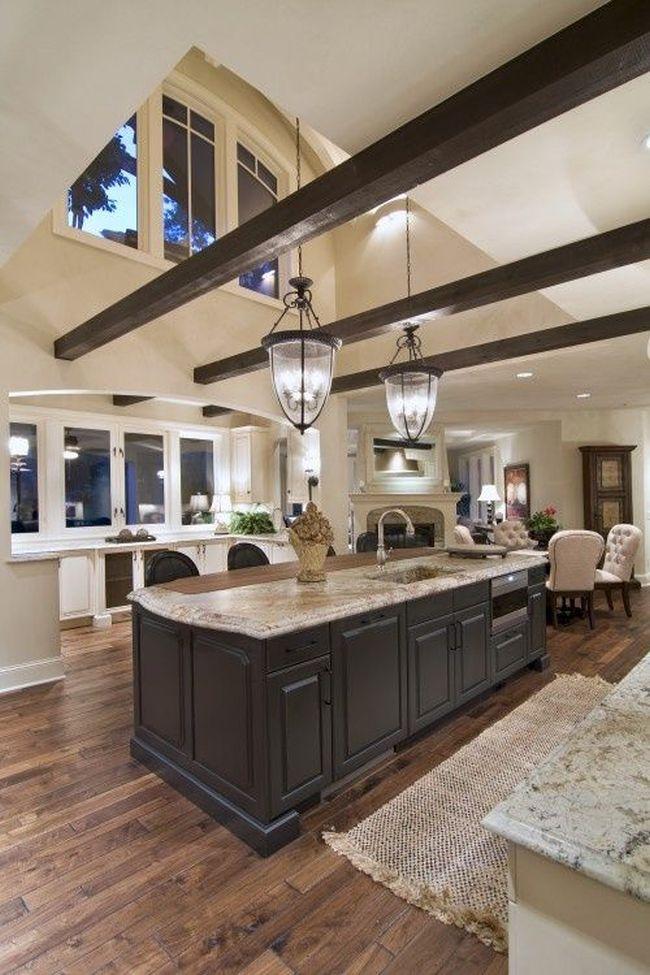 Nowoczesny salon sufit katdralny poniesiony przestrzen for Great kitchen design ideas