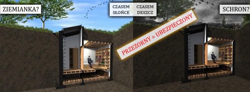 Budowa budowli ziemnej ziemianki schrony projekt