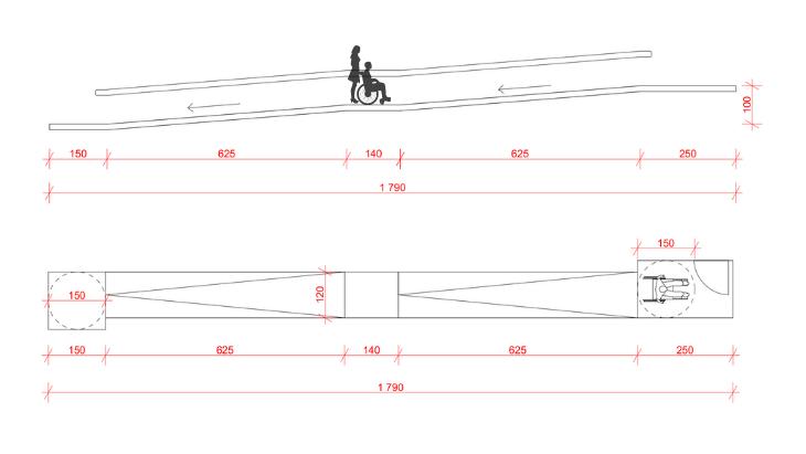 pochylnia dla osób niepełnosprawnych - podniesienie o 1m