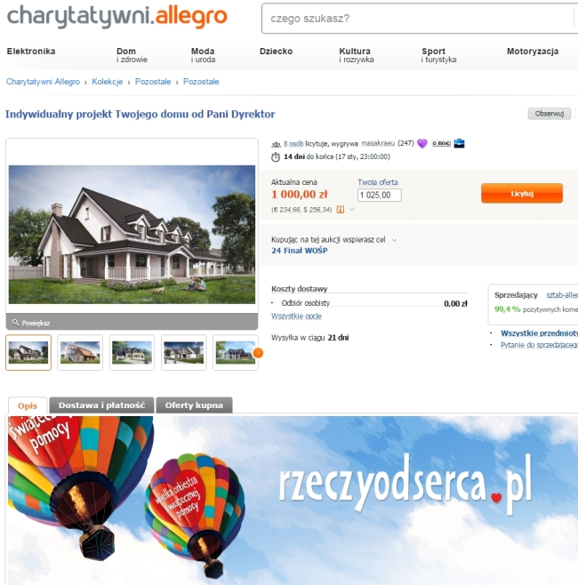 aukcja allegro wośp charytatywnie dom marzeń koncepcja domu pani dyrektor pomagam 10