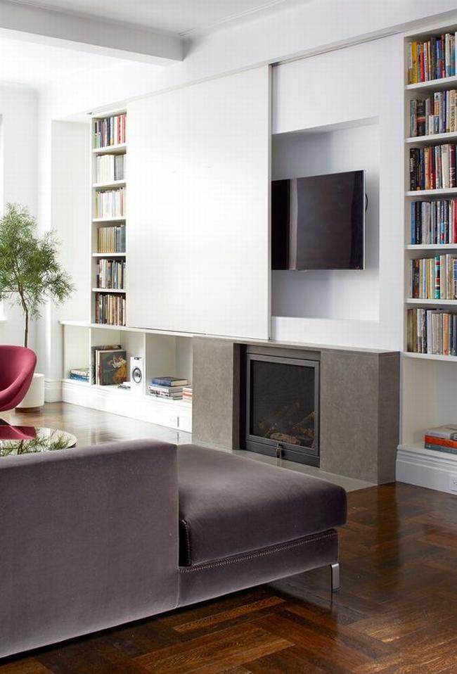 jak ukryć telewizor w salonie ukryty telewizor we wnętrzu w domu inspiracje design pomysły rozwiązania 17