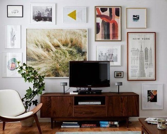 jak ukryć telewizor w salonie ukryty telewizor we wnętrzu w domu inspiracje design pomysły rozwiązania 27