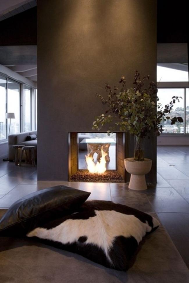 kominek dwustronny inspiracje wygląd kominek we wnętrzu komink w salonie 03