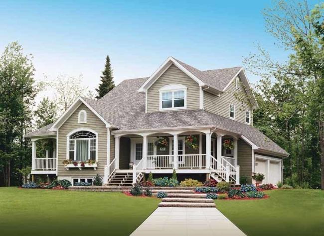elewacja domu amerykańskiego dom amerykański willa amerykańska rezydencja projekt design elewacja podjazd pod dom inspiracje 01