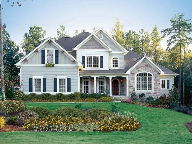 elewacja domu amerykańskiego dom amerykański willa amerykańska rezydencja projekt design elewacja podjazd pod dom inspiracje 26