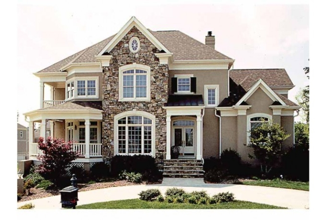 elewacja domu amerykańskiego dom amerykański willa amerykańska rezydencja projekt design elewacja podjazd pod dom inspiracje 48