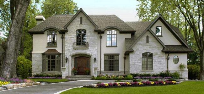 elewacja domu amerykańskiego dom amerykański willa amerykańska rezydencja projekt design elewacja podjazd pod dom inspiracje 50