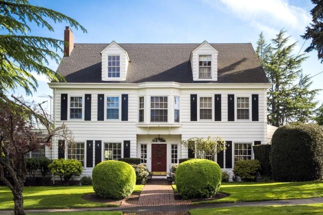 elewacja domu amerykańskiego dom amerykański willa amerykańska rezydencja projekt design elewacja podjazd pod dom inspiracje 57