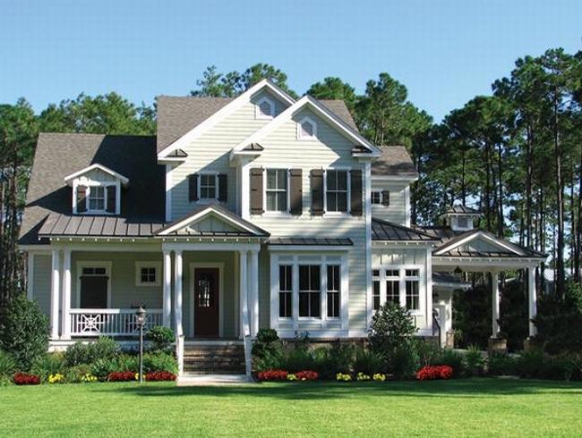 elewacja domu amerykańskiego dom amerykański willa amerykańska rezydencja projekt design elewacja podjazd pod dom inspiracje 62