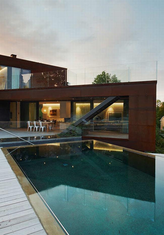 luksusowa nowoczesna willa marzeń projekt realizacja willa ze Szwecji design inspiracje elewacja ze stali rdza 08