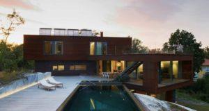 luksusowa nowoczesna willa marzeń projekt realizacja willa ze Szwecji design inspiracje elewacja ze stali rdza 09