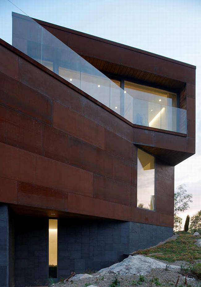 luksusowa nowoczesna willa marzeń projekt realizacja willa ze Szwecji design inspiracje elewacja ze stali rdza 10