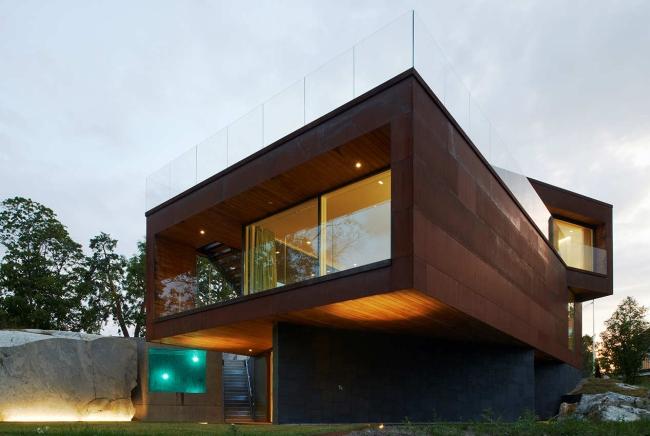 luksusowa nowoczesna willa marzeń projekt realizacja willa ze Szwecji design inspiracje elewacja ze stali rdza 11