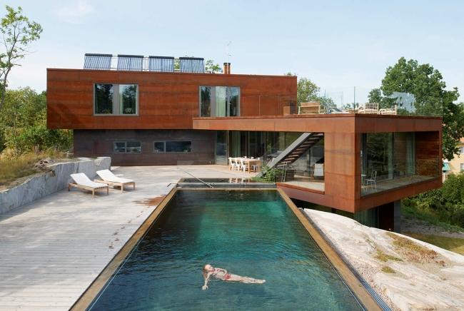 luksusowa nowoczesna willa marzeń projekt realizacja willa ze Szwecji design inspiracje elewacja ze stali rdza 18