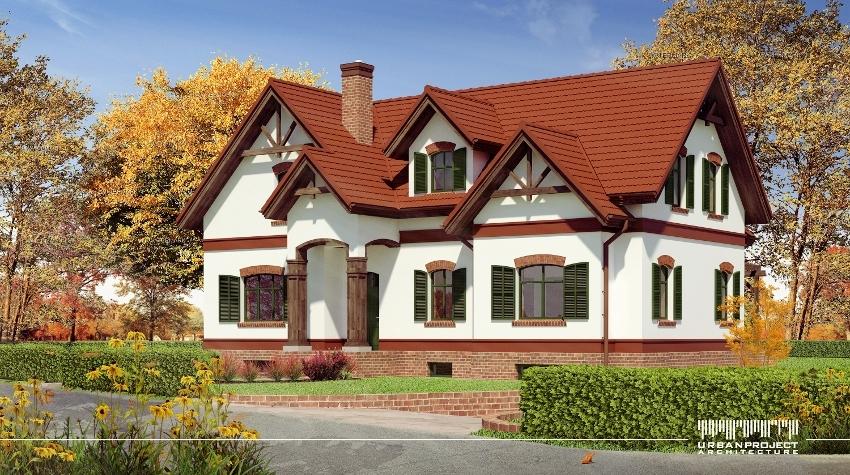indywidualny piękny projekt domu o małej powierzchni zabudowy, plan domu o niewielkiej powierzchni zabudowy, projekt indywidualny