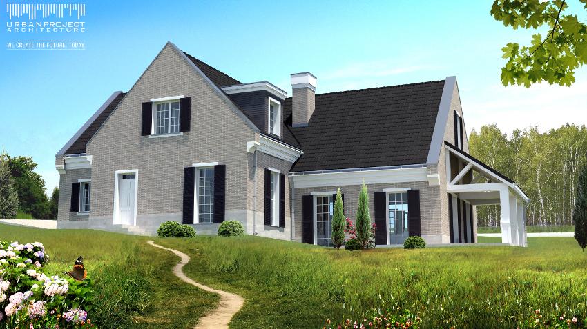 elegancki dom, nowoczesny, kolonialny styl, amerykański angielski,