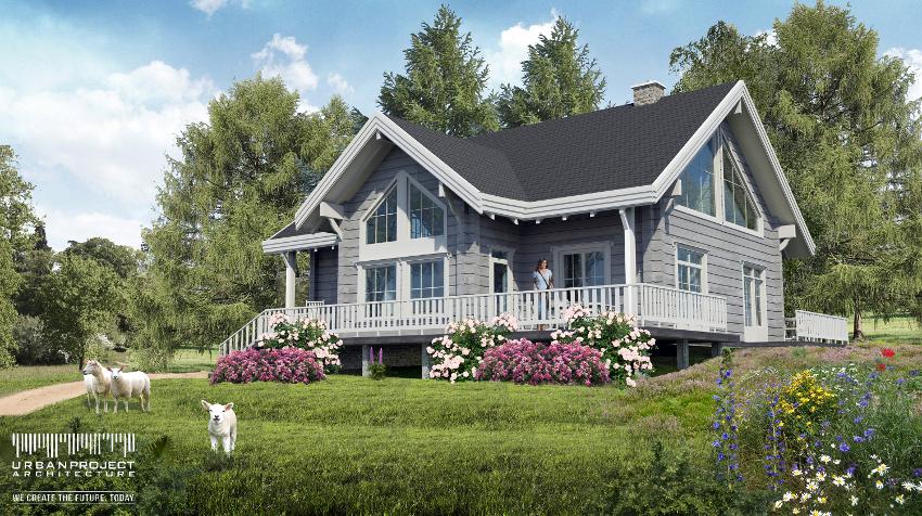 wymarzony dom, sielski domek, projekt indywidualny, weranda, antresola, drewno, siding, mały niewielki