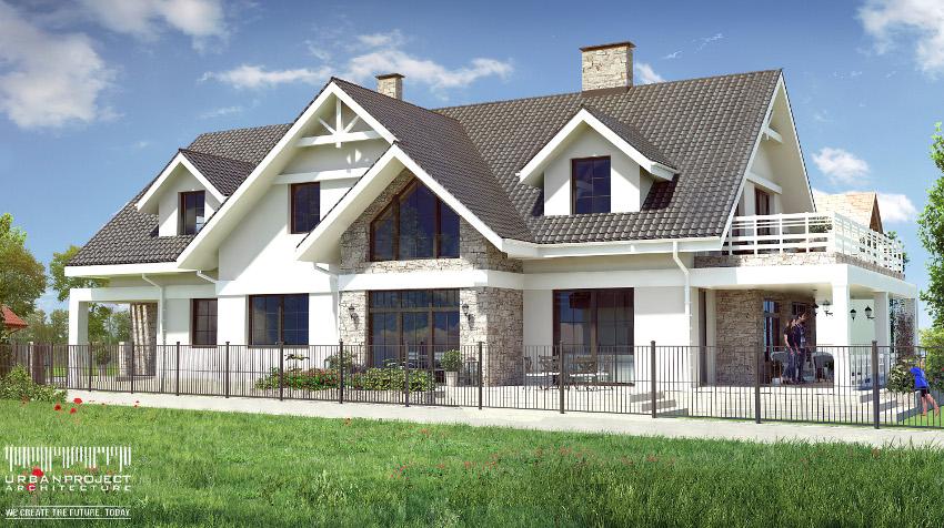 projekt indywidualny domu z werandą, w stylu amerykańskim, budowa, realizacja, weranda, zabudowa bliźniacza, dwulokalowy, dwumieszkaniowy, dwurodzinny