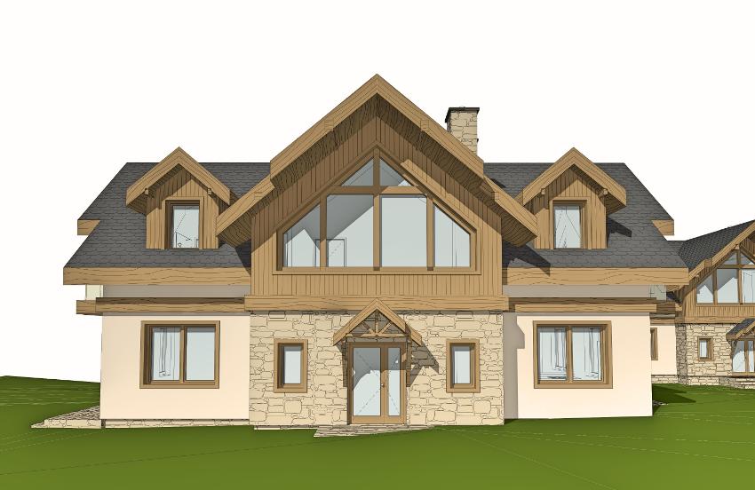 dom u stóp Bieszczad, drewno, kamień, tradycyjna forma, domek letniskowy, projekt indywidualny,