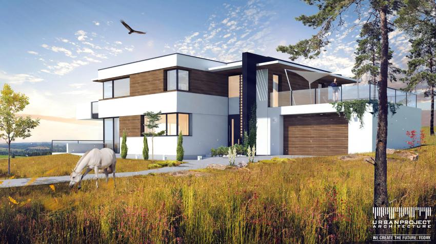nowoczesny dom indywidualny dla dużej rodziny, rzuty, płaski dach, taras, dom na zboczu, na skarpie, na wzniesieniu