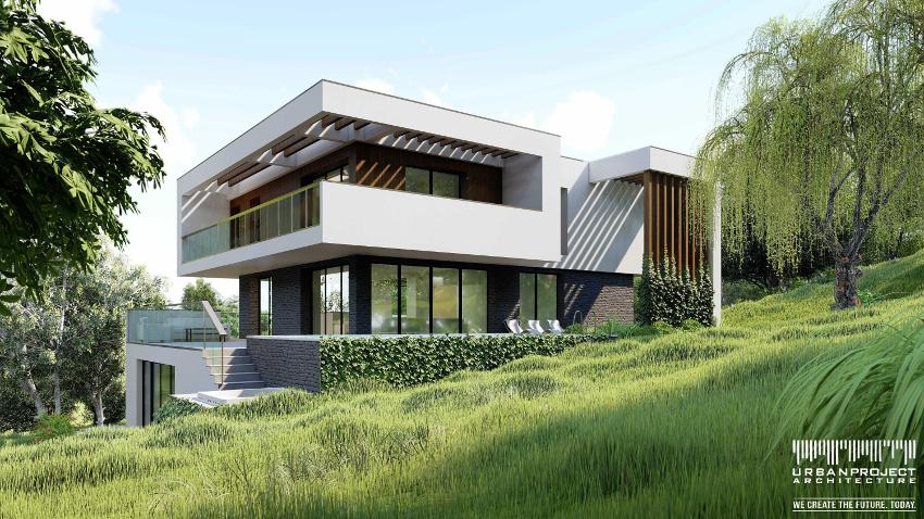 Minimalistyczny dom z płaskim dachem na skarpie na zboczu dla stromej działki projekt indywidualny nowoczesny współczesny