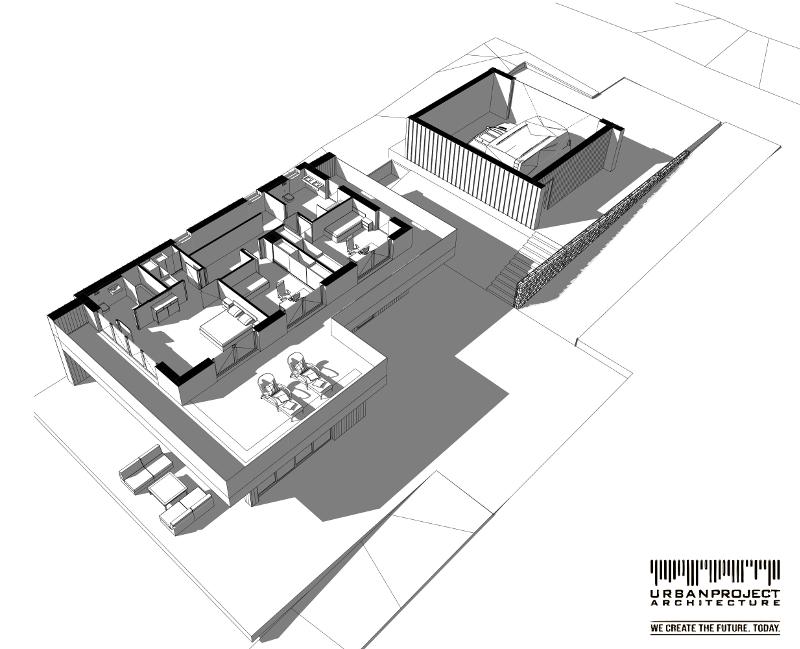 indywidualny projekt nowoczesnego domu z dachem dwuspadowym, typu stodoła, elewacja z drewna i blachy, wysunięty okap