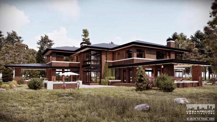 podmiejska willa, elewacja z cegły i drewna, projekt indywidualny, nowoczesny dom w stylu preriowym,