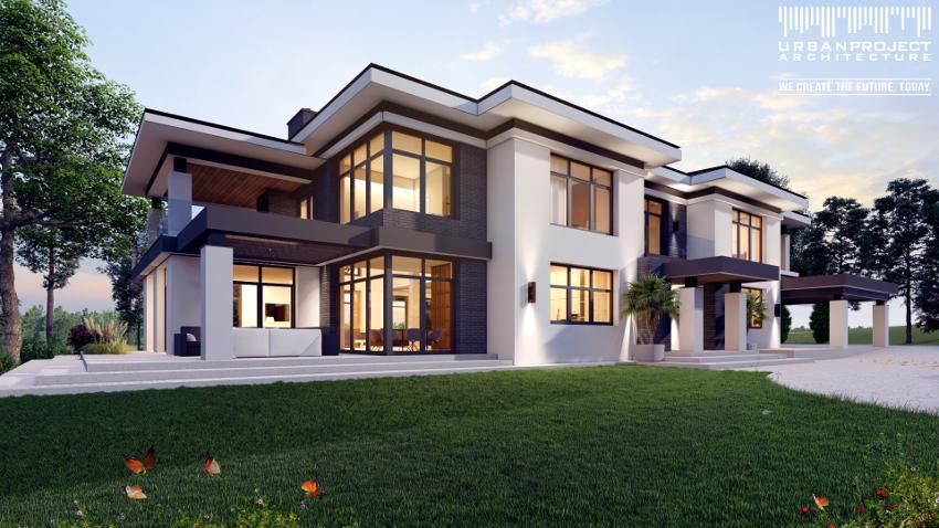 prosta i nowoczesna rezydencja w stylu amerykańskim, willa, dom, projekt indywidualny, dom marzeń, idealny projekt, wizualizacje, wnętrza, rzuty