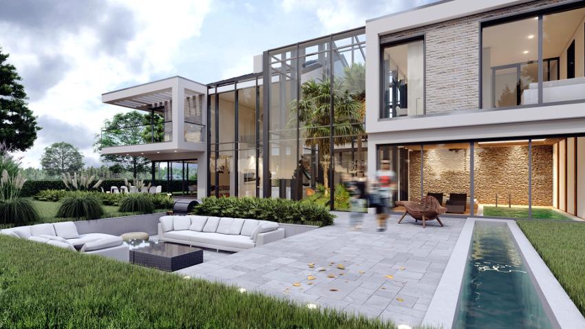 Dom z palmiarnią w luksusowym stylu zaprojektowany indywidualnie nowoczesny dom marzeń. Zobacz wizualizacje, wnętrza, plany i rzuty, inspiracje.