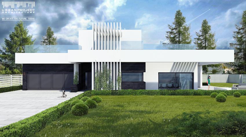 nowoczesny indywidualny dom, współczesna bryła forma dynamiczna kontrastowa kolorystka rzuty elewacje projekt indywidualny prosty funkcjonalny efektowny