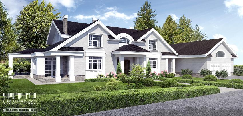 wyjątkowy dom w amerykańskim stylu z poddaszem rzuty wizualizacje układ wnętrz materiały opis indywidualny projekt domu z werandą