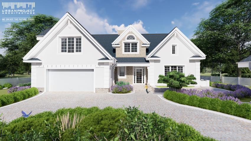 Elegancki i gustowny - takimi słowami można określić ten dom. Część garażowa została wysunięta do przodu, tworząc wnękę dla strefy wejściowej, którą dodatkowo podkreślono zadaszeniem. Projekt stylowego domu z budynkiem gospodarczym - Dom Marzeń A0216